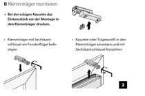 Klemmträgermontage für Kassettenrollos und Trägerprofilrollos mit Mittel- oder Seitenzug