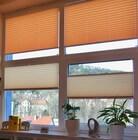 Fensterplissee in beige und orange VS2