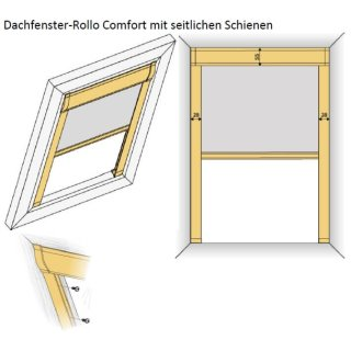 Dachfensterrollos Comfort ungenormt 42.167. transparent in 3 Farben~2