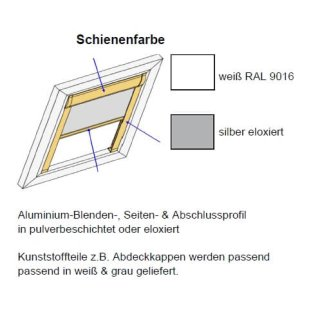 Dachfensterrollos Comfort ungenormt 42.167. transparent in 3 Farben~3